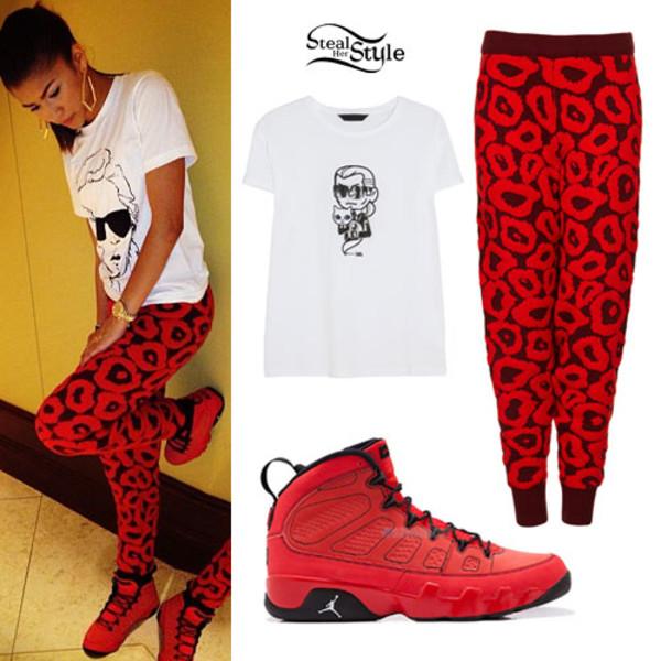 pants red pants shirt zendaya shoes