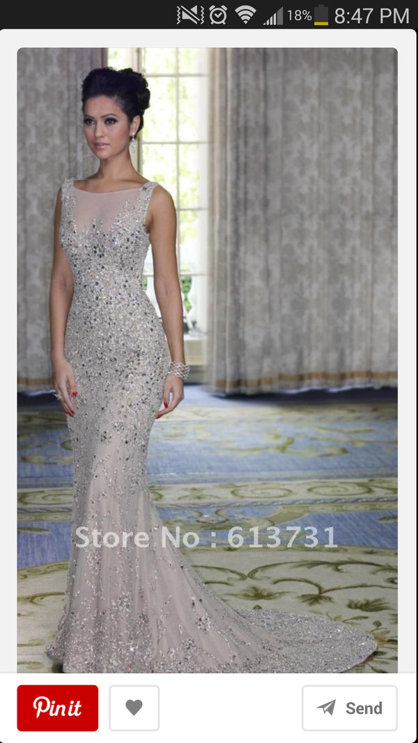 dress prom dress tan sequins prom dress beading beading gown