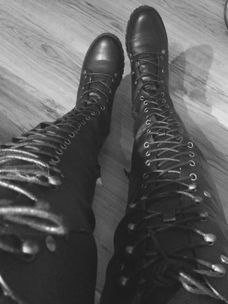 shoes black thigh high boots overknee black boots overknee boots lace up boots all black everything