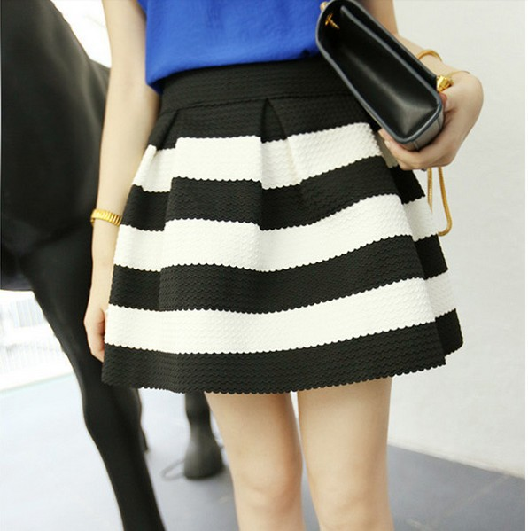 woman new fashion black and white striped zipper open back ball gown mini skirts free shipping A521B 5030-in Skirts from Apparel & Accessories on Aliexpress.com