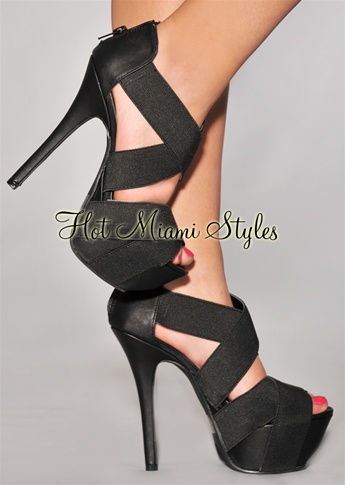 Black CrissCross Straps High Heel Sandals