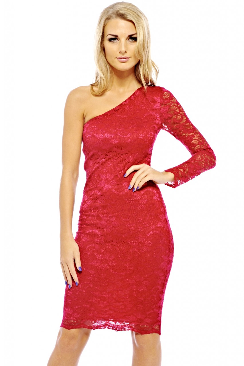 Red Cocktail Dress - Red One Shoulder Lace Bodycon | UsTrendy