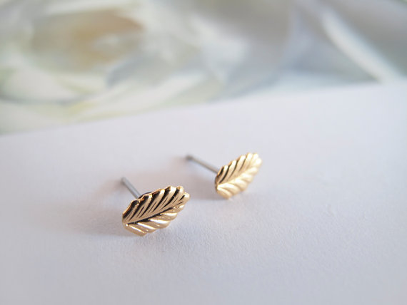 Tiny Gold Leaf Stud Earrings  Hipoallergenic by LaLiLaJewelry