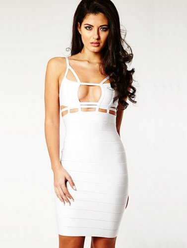 2014 White Cutout Top Herve Leger Figure-hugging Bandage Dress [White Cutout bandage dress] - $162.00 : Prom Dresses 2014 Sale, 70% off Dresses for Prom