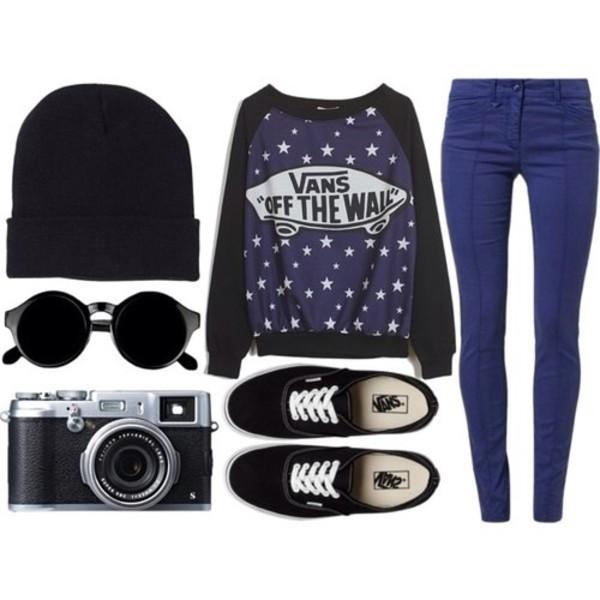 sweater vans dark blue stars cute vans purple