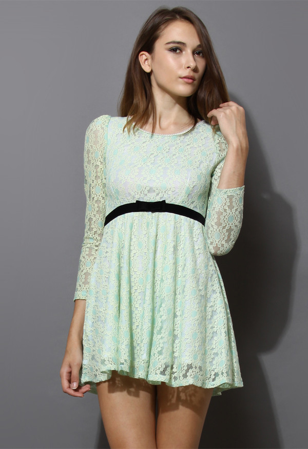 dress pearly collar floral lace mint