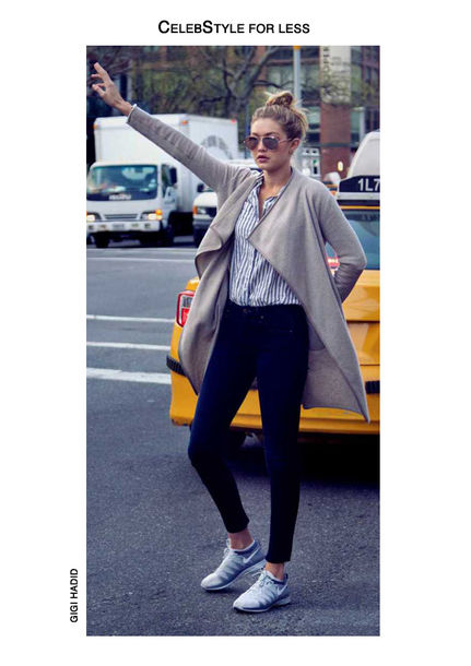 cardigan celebstyle for less grey aviator sunglasses striped shirt skinny jeans jeans gigi hadid sneakers celebrity cool girl style shirt shoes sunglasses blonde hair model streetstyle bun