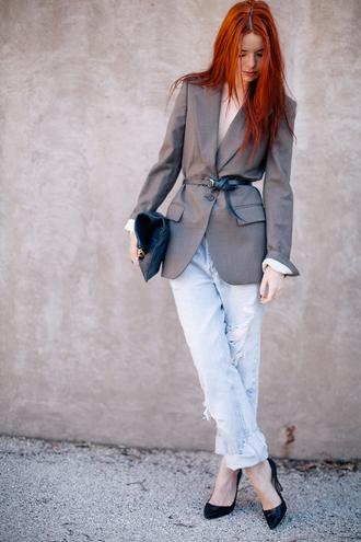 sea of shoes blogger jacket belt jeans bag