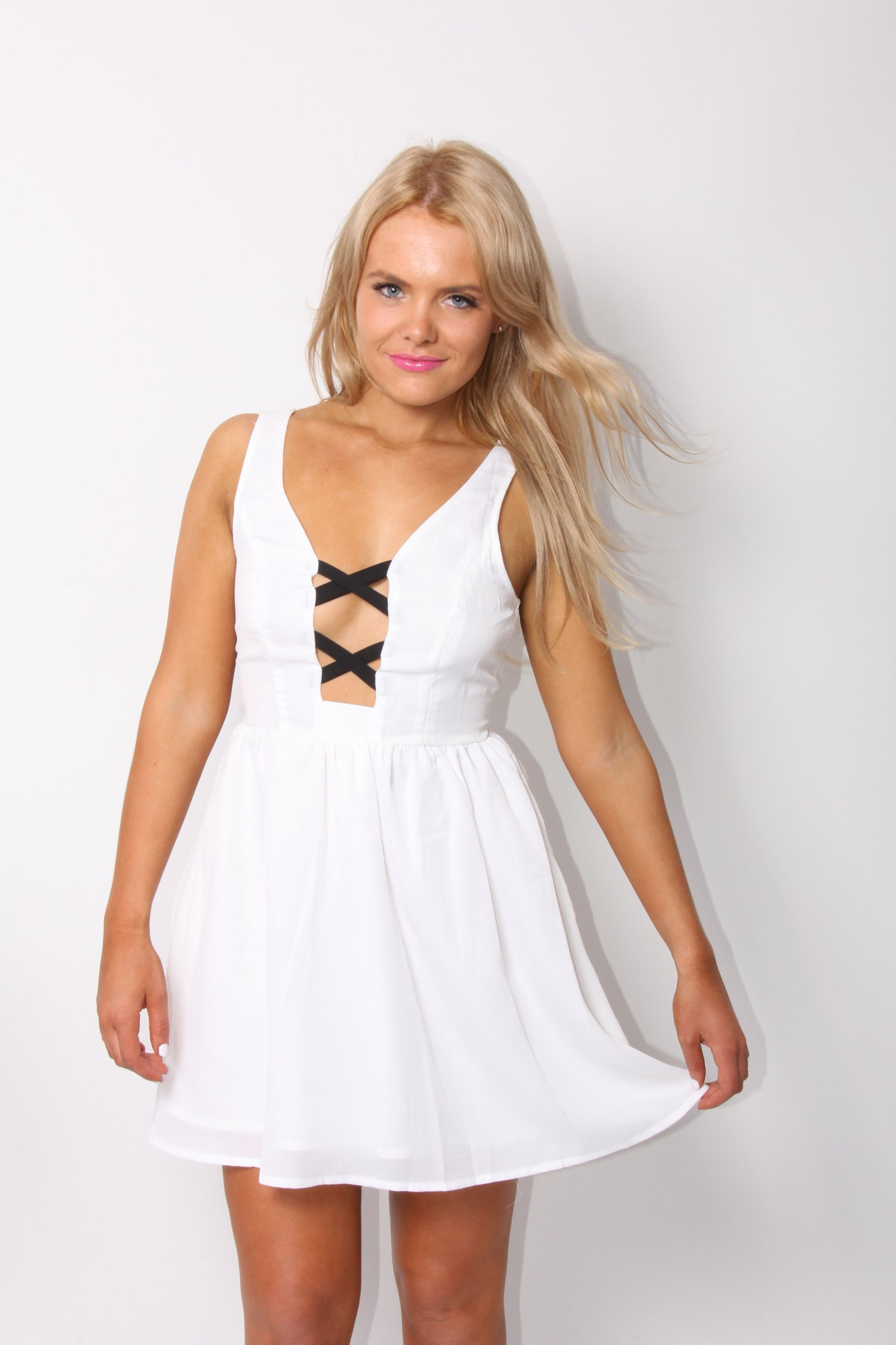 White Mini Dress - White Mini Black Cross Over   UsTrendy