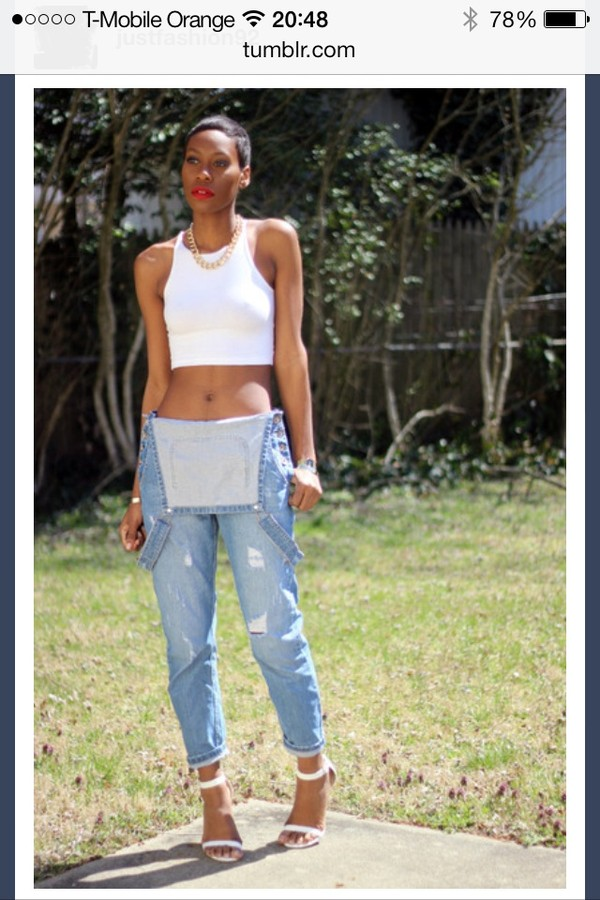 tank top baggy pants dungarees white tank top crop tops gold chain necklace