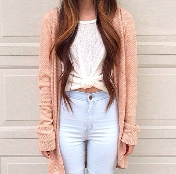 peach tie-front top light blue jeans high waisted jeans skinny jeans long cardigan cardigan white t-shirt top crop tops tie front cream top shirt