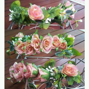 Flower Crown Floral Headpiece Detailed Handmade Peach Pink Pastel Vintage Style   eBay