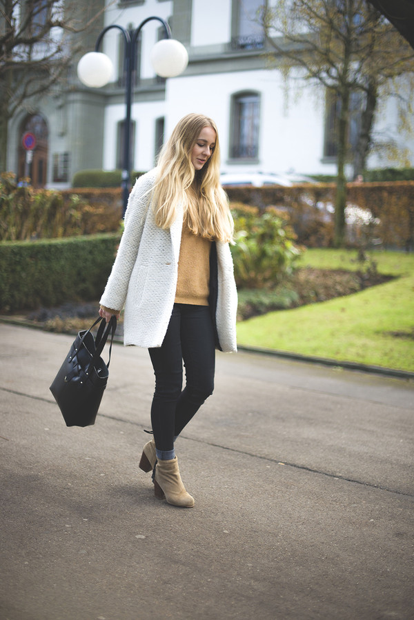tiphaine's diary coat sweater shoes jeans bag jewels