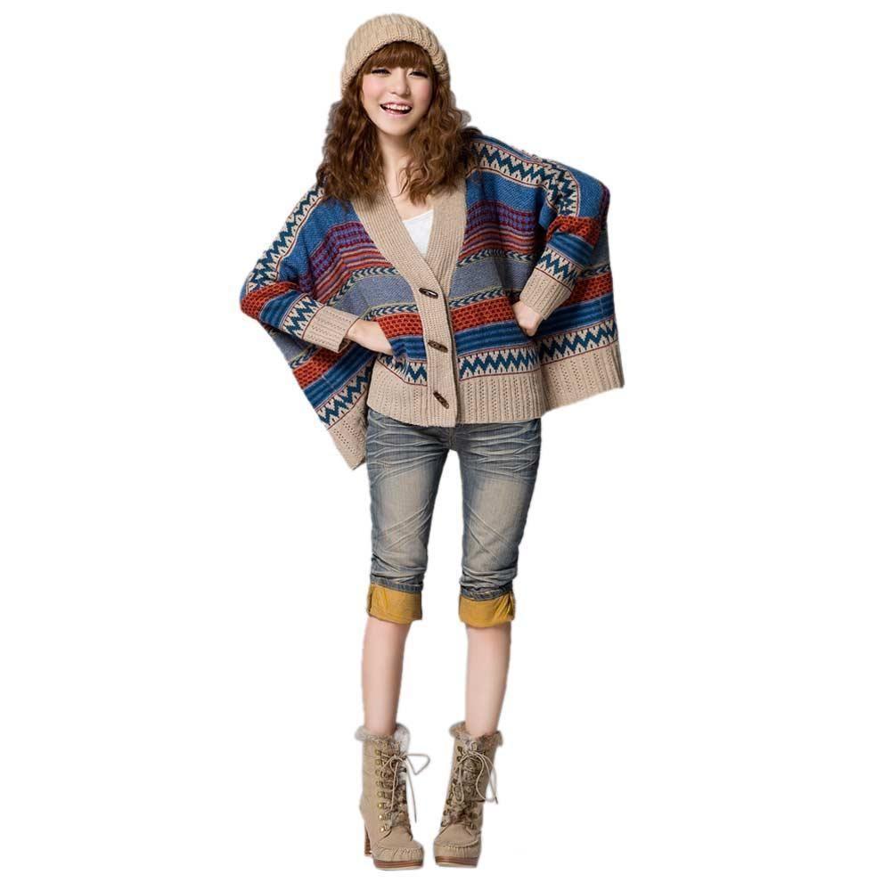 Bohemian Vintage Tribal Oversized Knit Bat Sleeve Sweater Coat Knitwear Cardigan | eBay