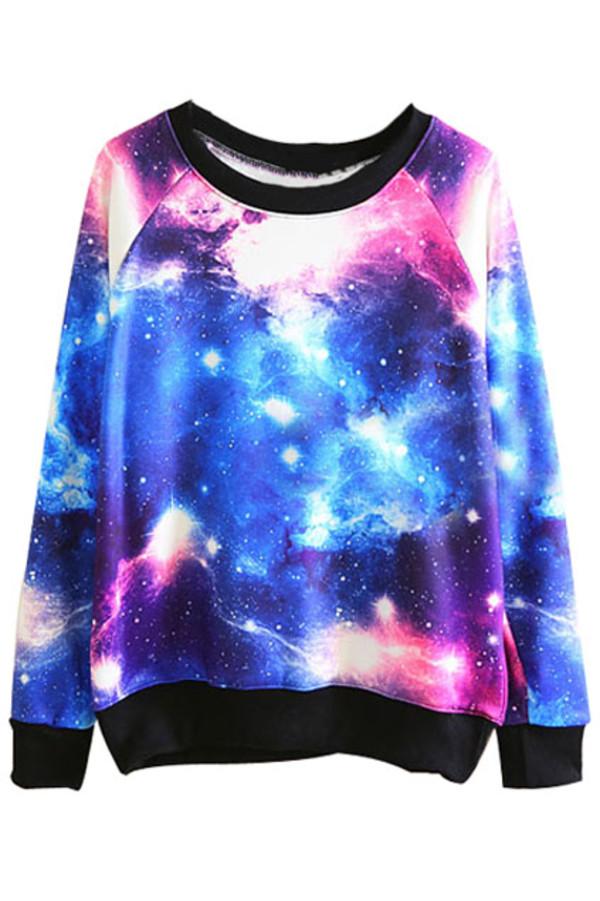 sweater galaxy print romwe sweatshirt