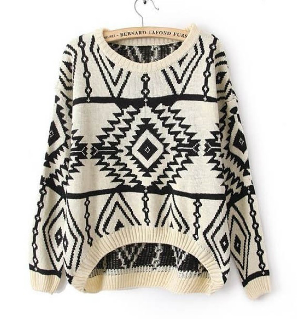Long sleeve oversized sweaters for women 2013 Aztec pattern pullovers and kintwear for woman top sale from Parisienne on Storenvy
