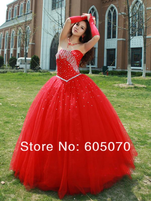 популярные 2013 гламурный красный пол  длина бальное платье бисером блестками тюль платья выпускного вечера платья quinceanera платье, принадлежащий категории Платья для кинсеаньера и относящийся к Одежда и аксессуары на сайте AliExpress.com