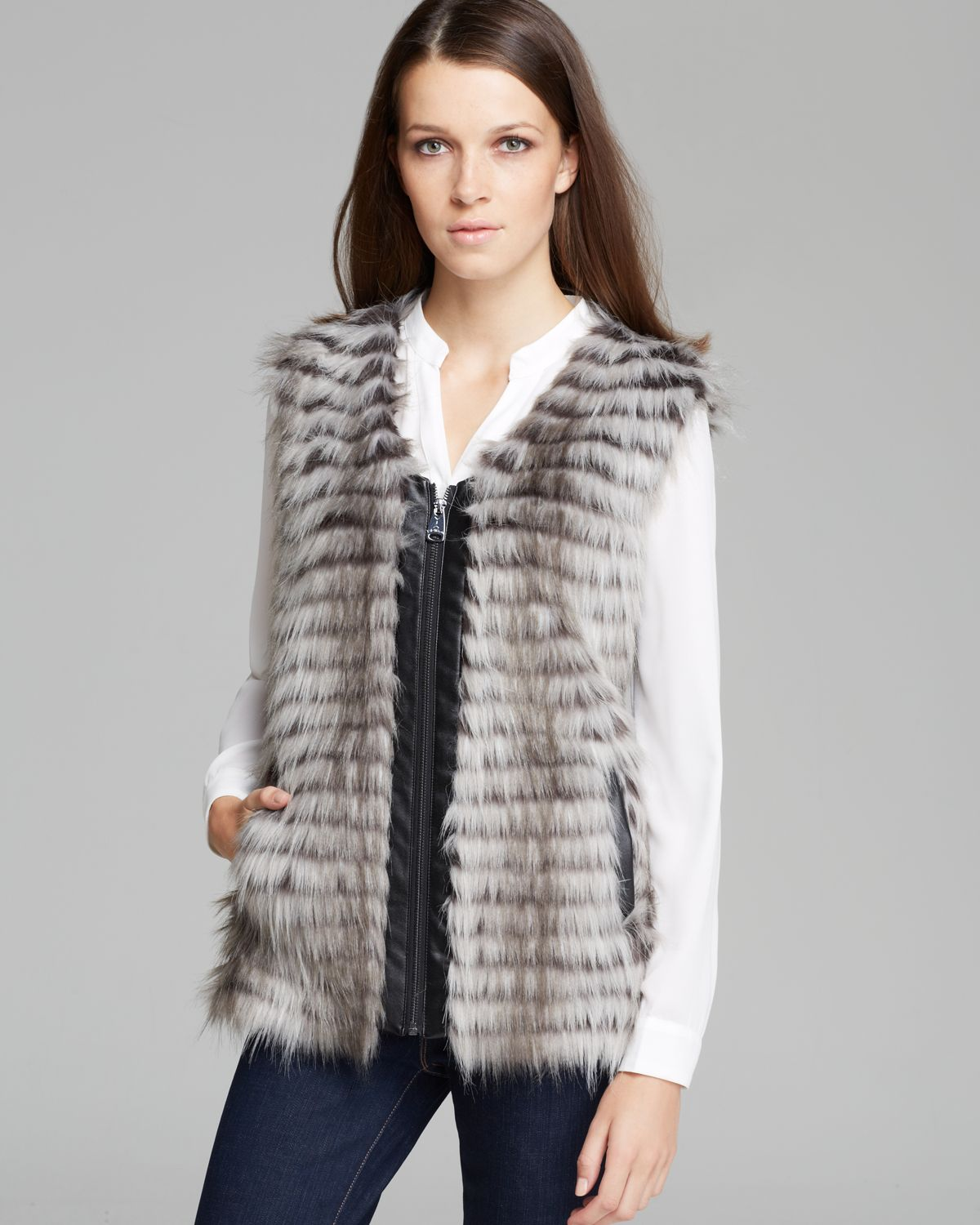 Via Spiga Parma Collarless Faux Fur Vest | Bloomingdale's