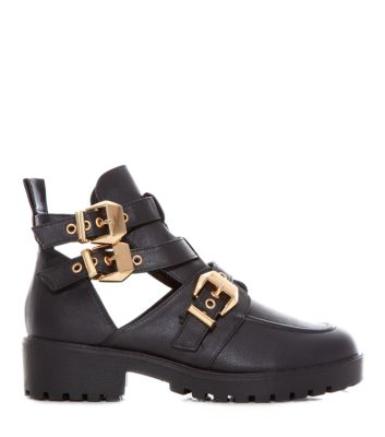 Black Triple Buckle Chunky Cut Out Ankle Boots