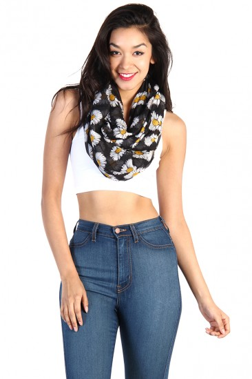 LoveMelrose.com From Harry & Molly | Daisy Infinity Scarf - Black