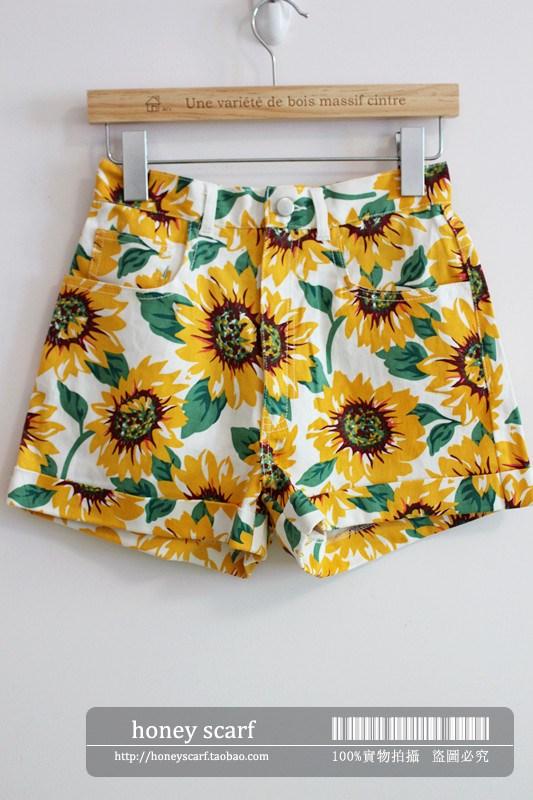 American apparel aa sunflower print high waist denim shorts-inPants & Capris from Apparel & Accessories on Aliexpress.com