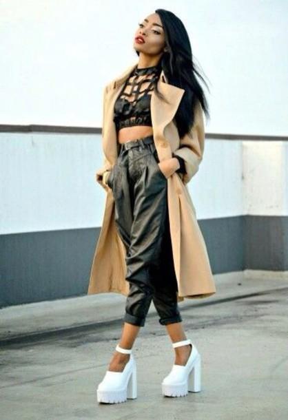top black crop top coat shoes pants