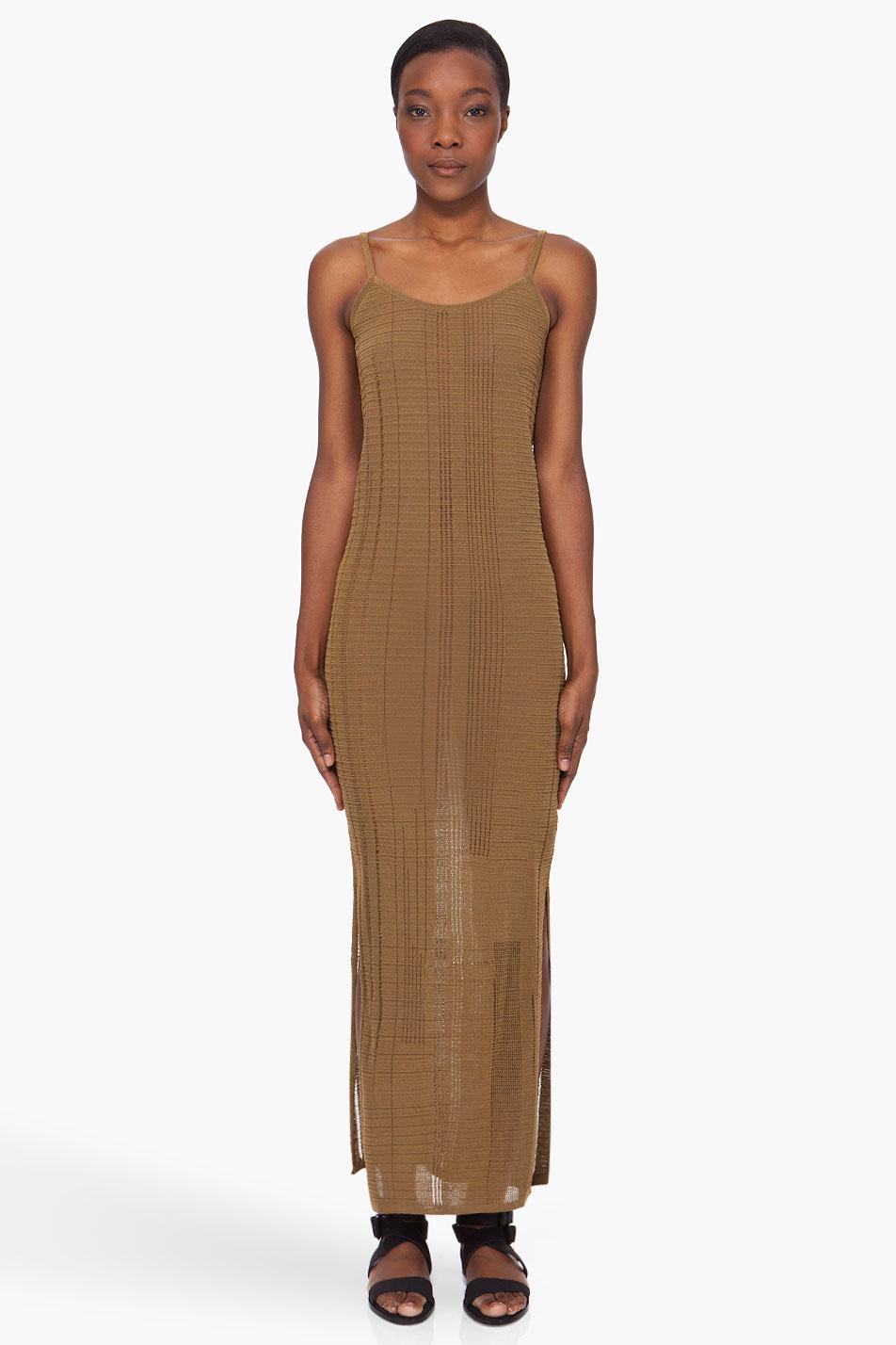 damir doma long bronze tone tank dress