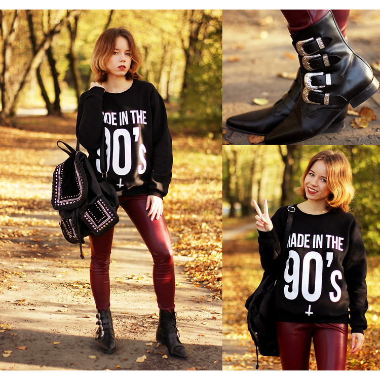 Faux Leather Leggings in Wine Red  - Retro, Indie and Unique Fashion