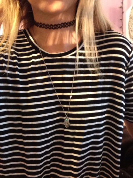 dress stripes black and white black dress hamsa hand choker necklace choker necklace necklace tattoo choker grunge hipster indie jewels