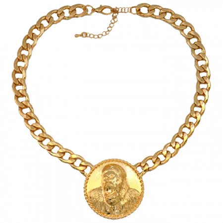 Celebrity Inspired King Kong Gorilla Gold Chain Link Statement Necklace