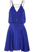 Milly|Leather-trimmed stretch-silk dress|NET-A-PORTER.COM