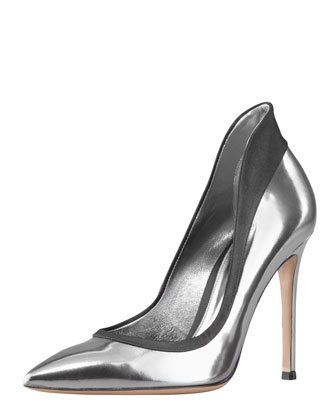 Gianvito Rossi Metallic Raised-Back Pump - Neiman Marcus