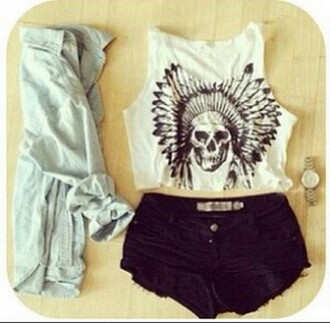 shorts fashion clothes look shirt watch jacket t-shirt summer feathers black and white crop tops headdress skull white black top