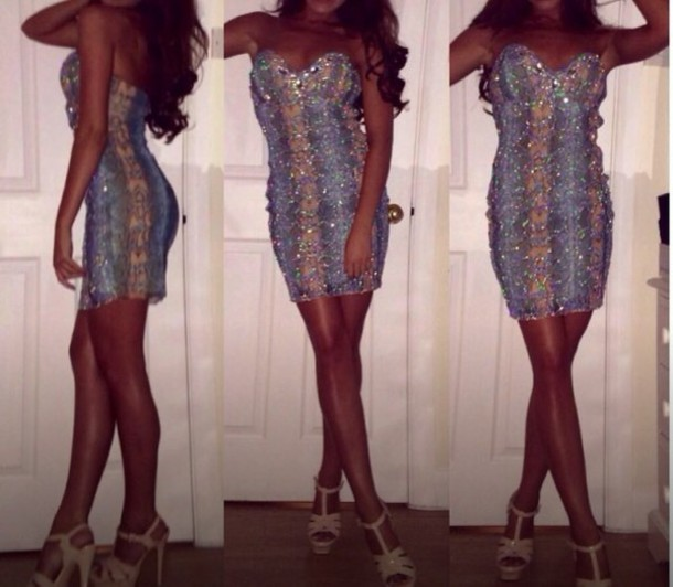 dress bodycon dress embellished rhinestones