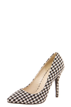 Chloe Dogstooth Pointed Mid Heels at boohoo.com
