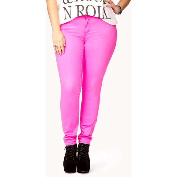 FOREVER 21  PLUS SIZES Electric Neon Skinny Jeans - Polyvore