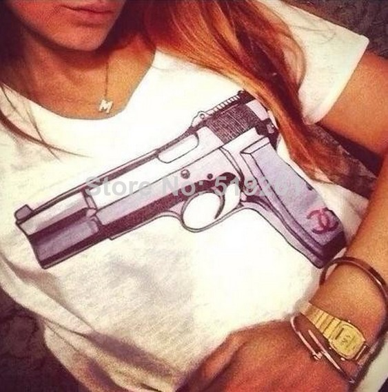 Exclusive Custom Made Gun Print T Shirt for Women, 2014 New Arrive Gun Printed Tee, Quality Cotton Top Tees-in T-Shirts from Apparel & Accessories on Aliexpress.com