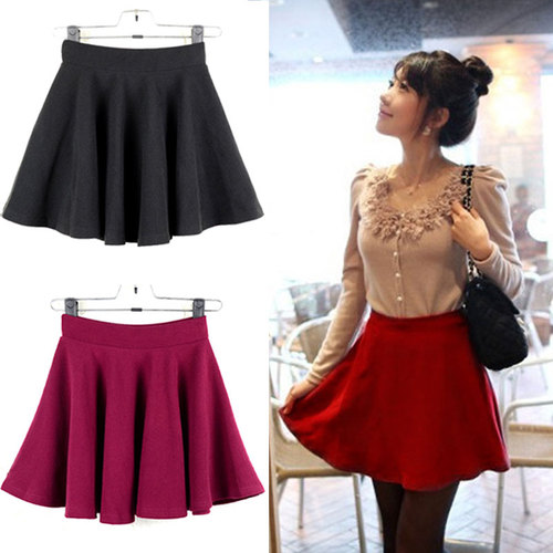 Retro High Waist Flared Pleated Short Mini Skater Skirt Women Lady Girl 4 Color | eBay