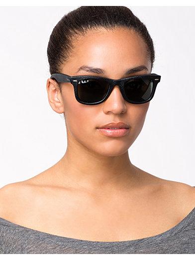 2140Qm Wayfarer Leather - Ray Ban - Black Leather/Polarized Green - Solglasögon - Accessoarer - Kvinna - Nelly.com