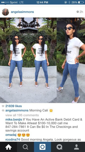 t-shirt Angela Simmons jeans