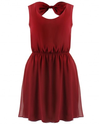 LOVE Red Bow Back Skater Dress - In Love With Fashion