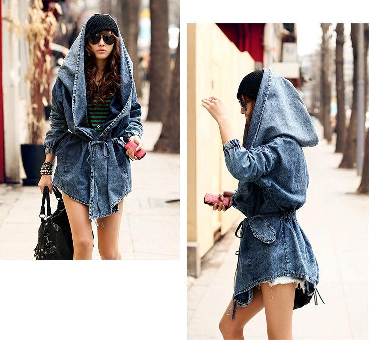 Fashion Women Lady Denim Trench Coat Hoodie Hooded Outerwear Jean Jacket Cool | eBay