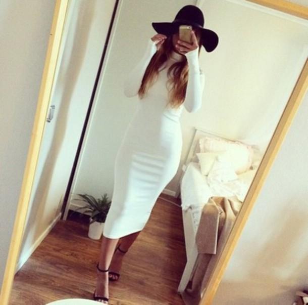 dress turtleneck bodycon dress white dress 2015 dress sexy dress midi dress
