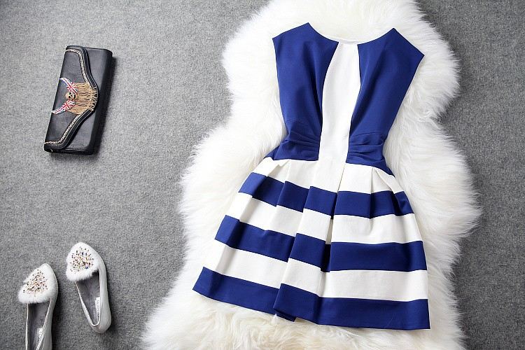 Aliexpress.com : Buy 2014 winter spring designer women's dresses blue black white strip pleated waist fashion vintage cute brand cocktail event dress from Reliable spring sun dresses suppliers on Andrea Chang's store