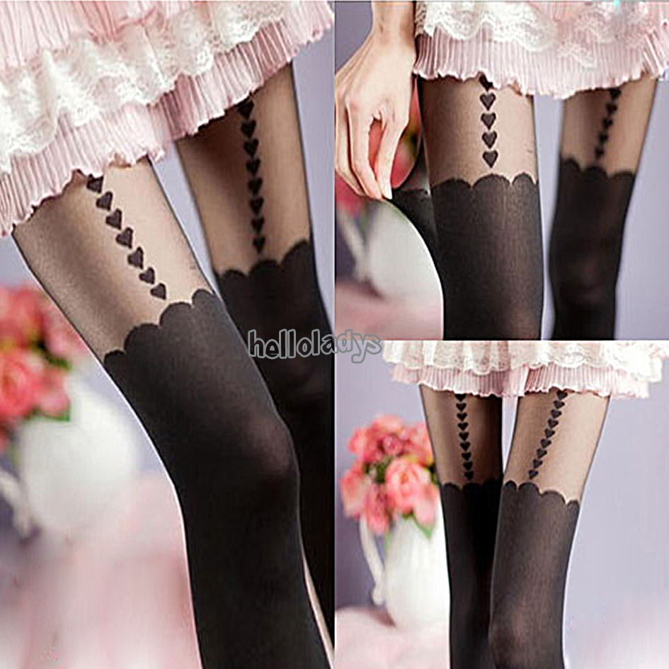 1pair 651106 Heart Jacquard Tights Sexy Lady Mock Suspender Stockings Pantyhose | eBay