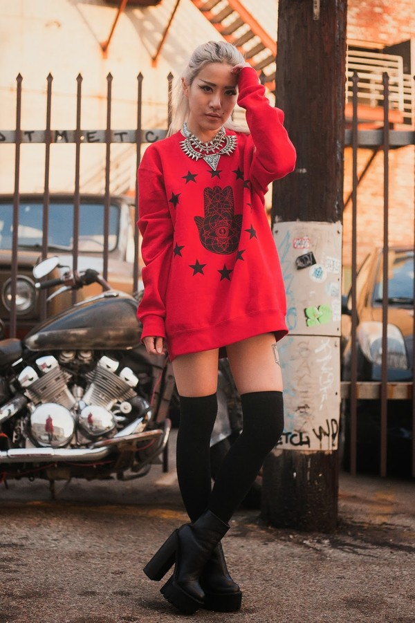 feral creature sweater jewels shoes