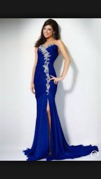 dress blue dress long