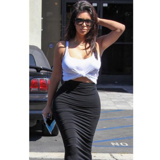 bodycon skirt white crop tops kim kardashian