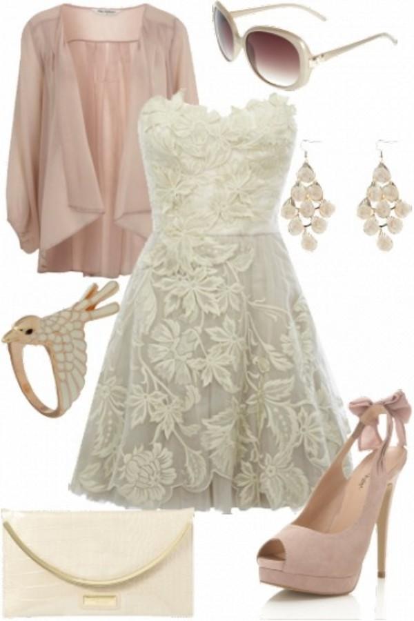 dress lace floral white dress short