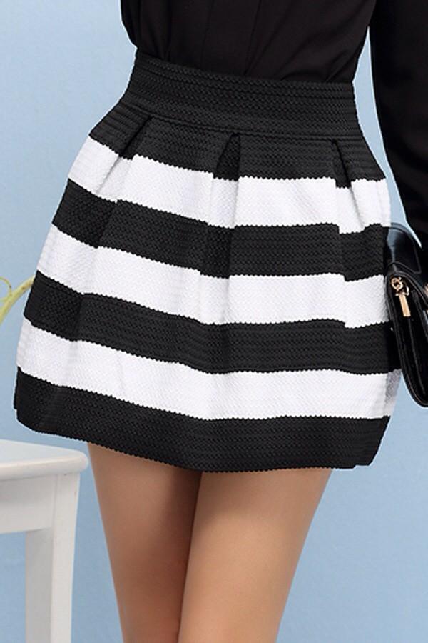 skirt striped skirt black and white high waist skirts